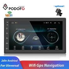 """Podofo 2 DIN รถวิทยุ GPS Android Autoradio WiFi USB Audio 2DIN 7 """"หน้าจอสัมผัส Universal MP5 เครื่องเล่นมัลติมีเดียบลูทูธ FM"""