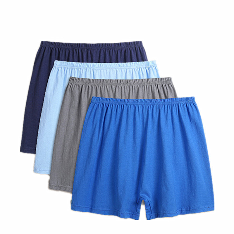 Soft Shorts Boxer Underwear Underpants Loose High-Waist Breathable Cotton 4pcs/Lot Male