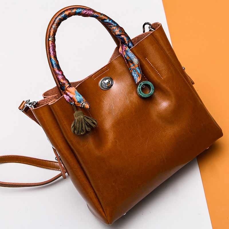 OMADNN Brand Fashion Lady Handbags Shoulder Casual Tassel Bag Hasp Soft Leather Large Capacity Women Crossbody Composite Bag
