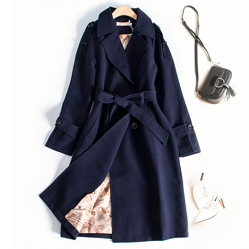 Women Trench Coat 2020 Spring Autumn Fashion Plus Size Slim Long Sleeve Chic Double-Breasted Long Windbreaker Female Outwear 765