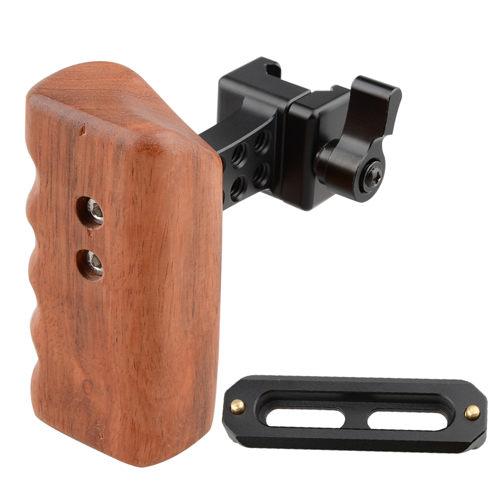 CAMVATE DSLR Wood Wooden Handle Grip Left Hand with Nato Rail Clamp Safety Rail 70mm C1532