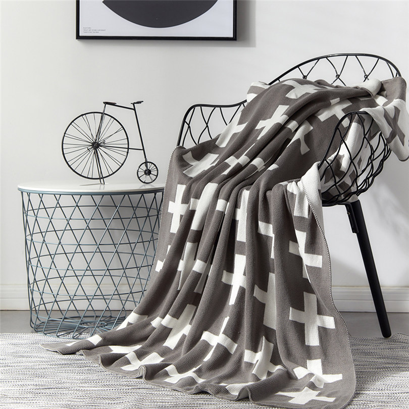 Chair Knitted Blanket Super Warm Soft Flannel Plaids On The Sofa Cross Pattern Portable Cobertor Throw Blankets for the BedChair Knitted Blanket Super Warm Soft Flannel Plaids On The Sofa Cross Pattern Portable Cobertor Throw Blankets for the Bed