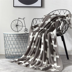 Chair Knitted Blanket Super Warm Soft Flannel Plaids On The Sofa Cross Pattern Portable Cobertor Throw Blankets for the Bed