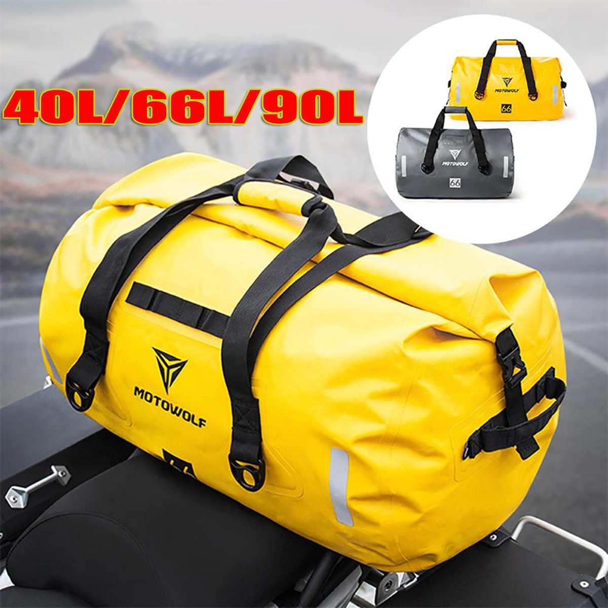 90L/66L/40L Motorcycle Saddle bags Waterproof Tail Bag Multi functional Motorcycle Seat Bag High Capacity Moto Rider Backpack