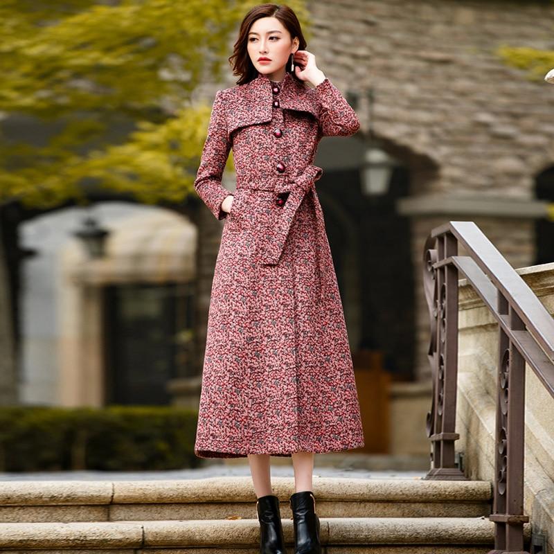 Femmes Vêtements Élégant Automne Manteau Qualité 04 En color Mélangée Style Color01 Mode Laine Hiver De color02 color03 Pardessus Britannique Haute Longue QdCBWExoer