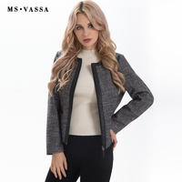 MS VASSA Women Jacket 2019 Spring Summer casual ladies Jacket with zipper long sleeve O neck loose basic outerwear plus size 6XL