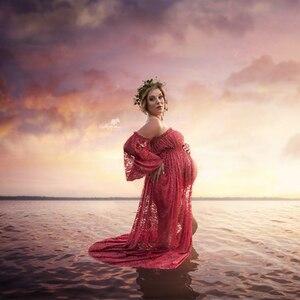 Image 2 - Vestidos de encaje de maternidad volantes abertura frontal vestido para fotografía Maxi fotografía de embarazada vestido Maxi de maternidad