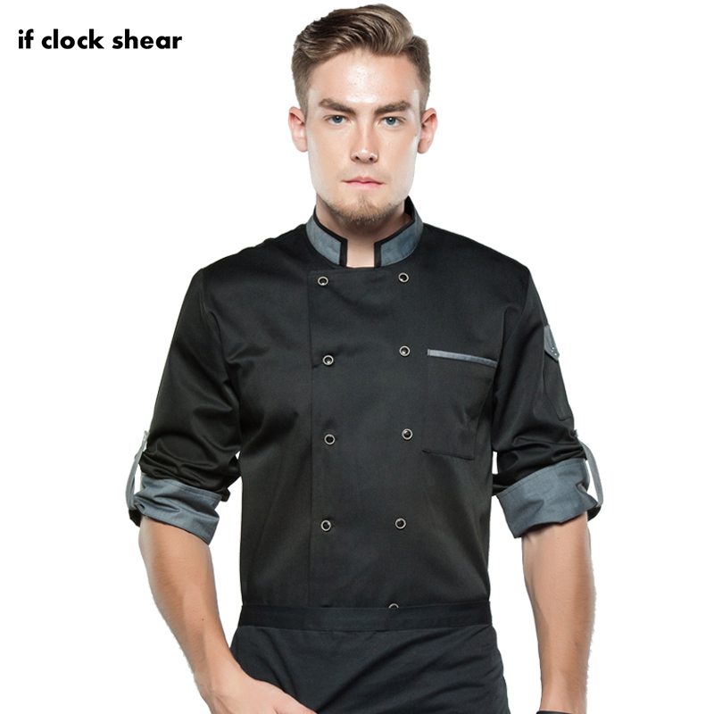 Long Sleeve Food Service Chef Tops High Quality Workwear Clothes Master Cook Restaurant Hotel BBQ Kitchen Chef Uniform 2019 New