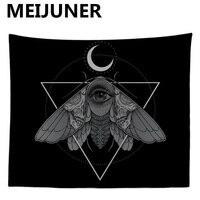 Meijuner Таро гобелен настенный Хэллоуин Черный гобелен Солнца и Луны Мандала Boho психоделический хиппи гобелен домашнего декора MJ158