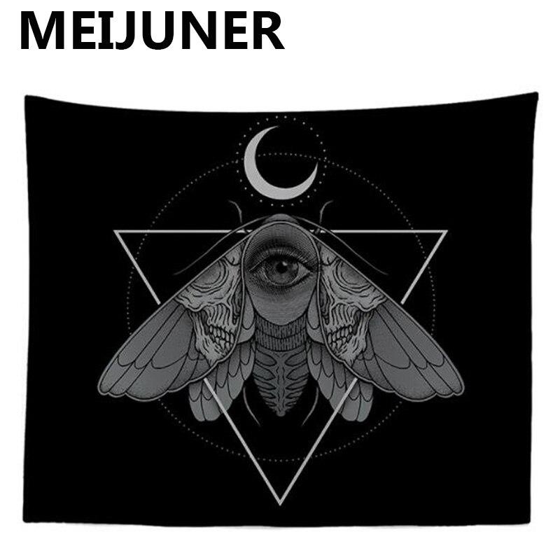 Meijuner Tarot Wandteppich Hängen Halloween Schwarz Tapisserie Sonne Mond Mandala Boho Psychedelic Hippie Tapisserie Wohnkultur MJ158