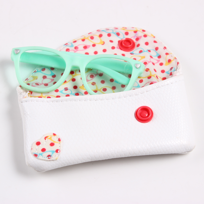 2017 New Arrive Doll Accessories Blue Sunglasses+ White Glasses Bag Suitable For 18 Inch American Girl Doll  AGN05 new style doll accessories round shaped glasses sunglasses suitable for 1 3 bjd dolls mini doll glasses for dolls good quality