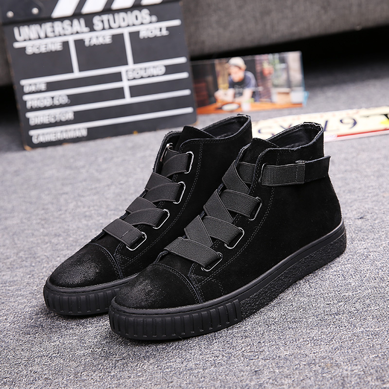 Nubuck Leather Fashion Men's Shoes High Top Luxury Autumn Casual Shoes Men England Trend Flat Heel Plain Loafers Shoes