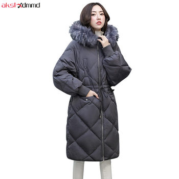 2019 New Winter Women Duck Down Jacket Japanese Long Casual Loose Hooded Fur Collar Vintage Ladies Coat Chaqueta Mujer AC139
