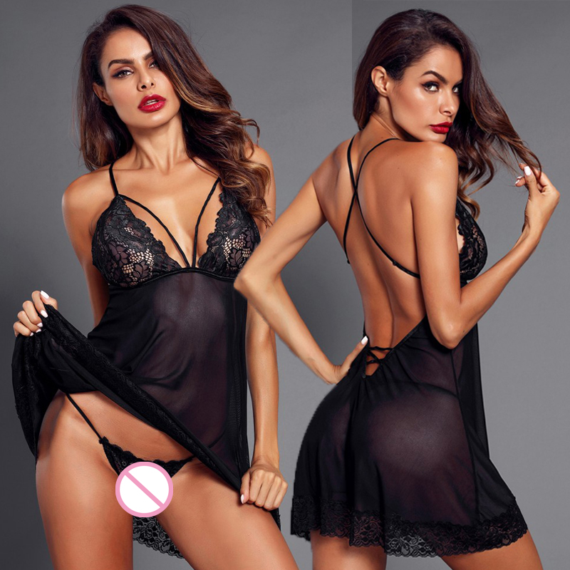 Porn Sexy Women's Lingerie Set G-string Sleepwear Lace Dress Robe Underwear Backless Nightwear Dress Exotic Apparel