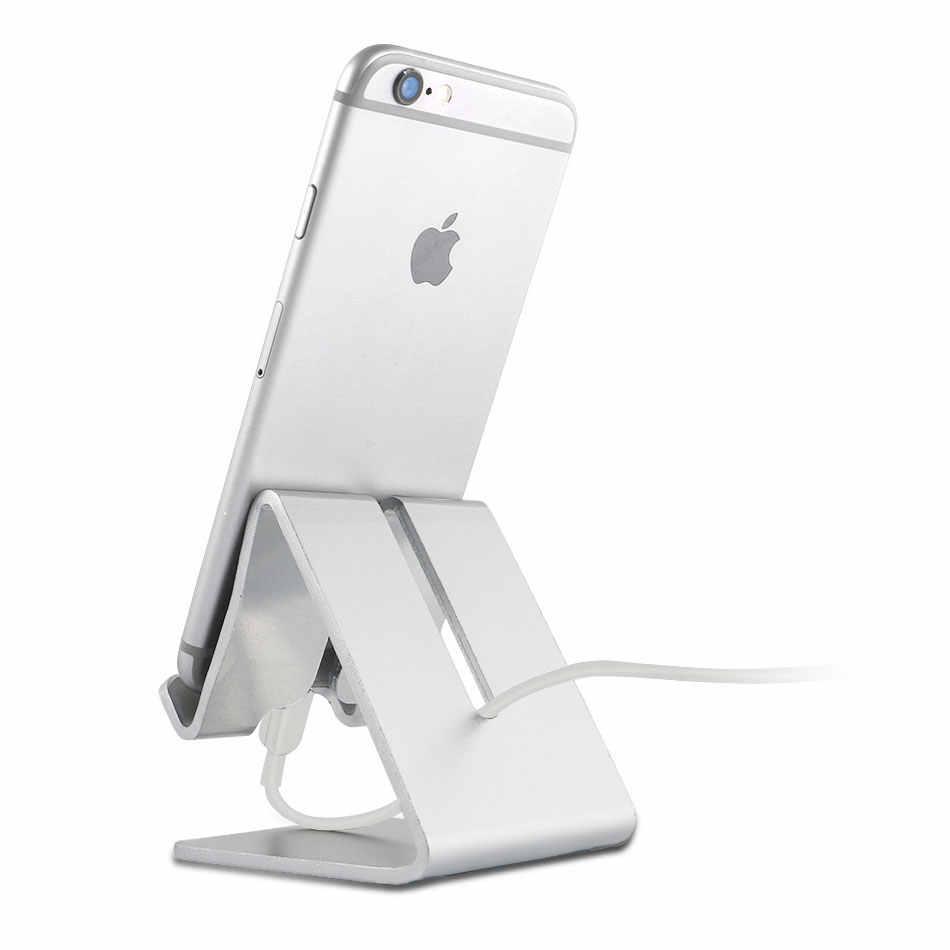 Universal Aluminium Alloy Pemegang Telepon Tempat Tidur Meja Kantor Meja Berdiri untuk Ponsel Iphone 6 S Plus 5C/ 5 S Samsung Galaxy