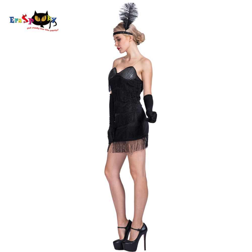 Women Sexy Black Flapper 20s Costume Dress Modern Young Lady Adult Female  Cosplay Fancy Dress Outfit d50c181e2dce
