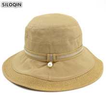SILOQIN NEW Adult Womens Bucket Hats Foldable Straw For Women Elegant Fashion Stitching Summer Breathable Ladies Beach Hat