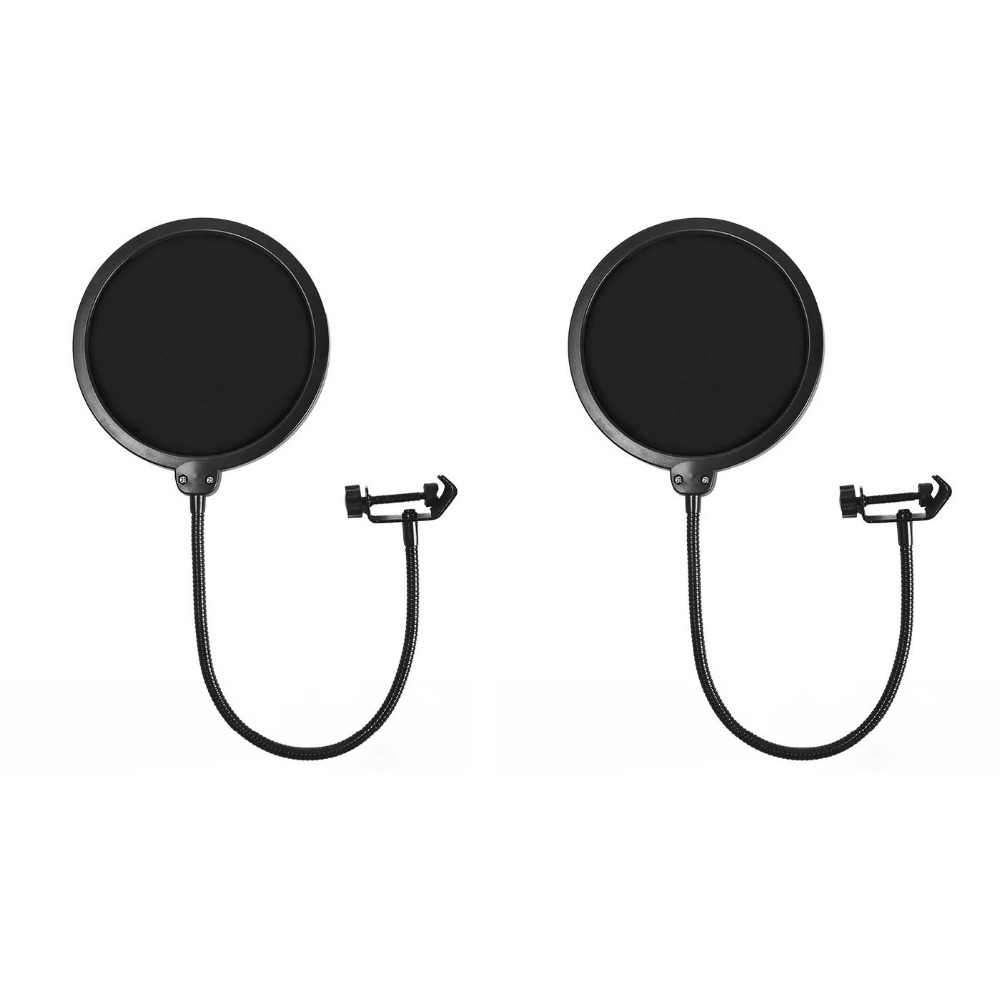2 Pcs 15.5cm Microphone Pop Filter Dual Layer Mic Pop with Clip Stabilizing Arm for Recording Vocals Home Studio Broadcasting|Microphone Accessories| |  - title=