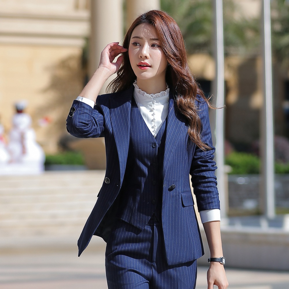 Women Two Piece Outfits Elegant Stripe Full Sleeve Blazer+Skirt 2 Pieces Business Career Skirt Suits Office Clothes KY80869