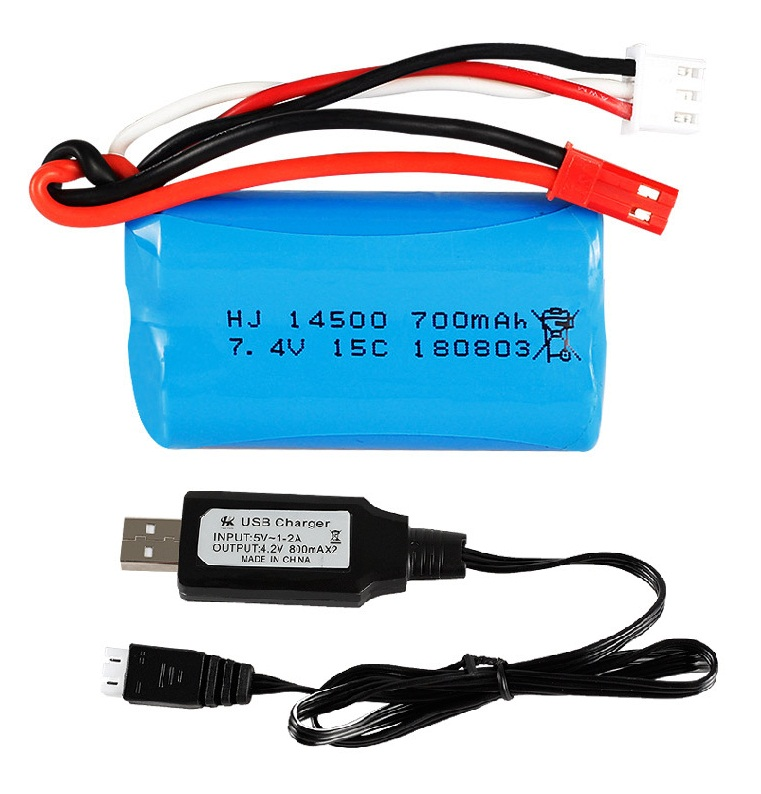 Ewellsold 1pc 2pc 3pc 7.4V 700mAh Replacement Li-po Battery/charger for FT007 FX059 RC Boat Spare Parts