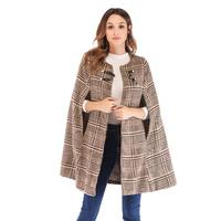 ZADORIN Women Coats And Jackets Winter 2019 Wool Cape Coat Tweed Two Buttons Sleeveless Vintage Camel Coat Cloak Wool Jacket