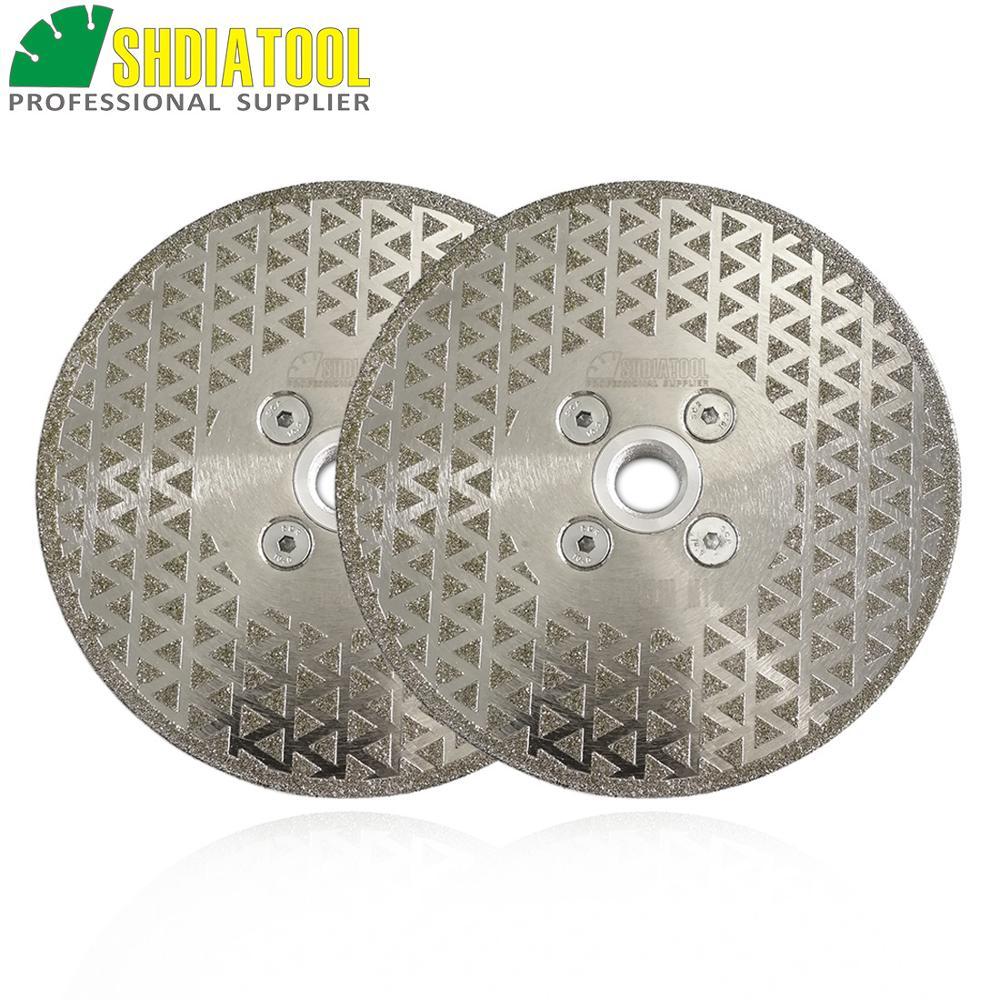 SHDIATOOL 2pcs 125mm M14 Flange Electroplated Diamond Cutting & Grinding Discs Stone Sawblade Both Side Coated Diamond Wheel