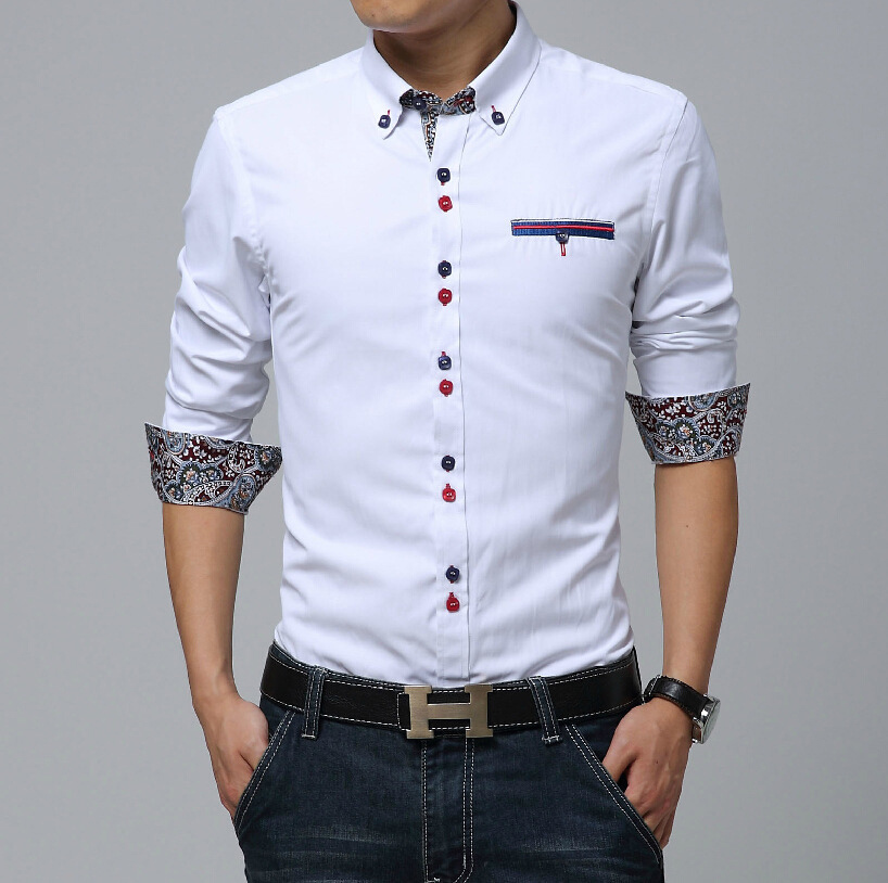 82f5b1902c Nuevo Sky Blue Men camisa Chemie Homme 2016 diseño moda para Hombre de  algodón de manga larga Camisas de vestir Casual de marca Hombre Camisas en  Camisas ...