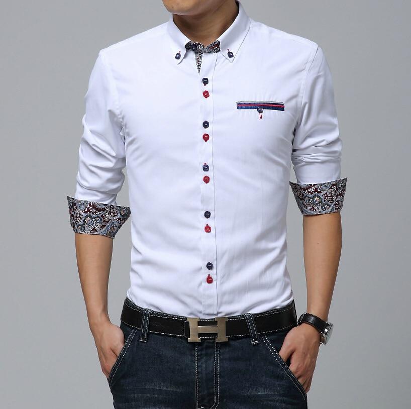 48e612e00c926 Nuevo Sky Blue Men camisa Chemie Homme 2016 diseño moda para Hombre de  algodón de manga larga Camisas de vestir Casual de marca Hombre Camisas en  Camisas ...