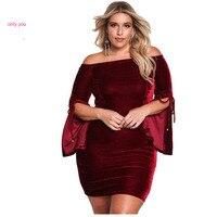 Only You Vintage Autumn Winter Wine Black Plus Size Velvet Off Shoulder Bell Sleeve Bodycon Dress