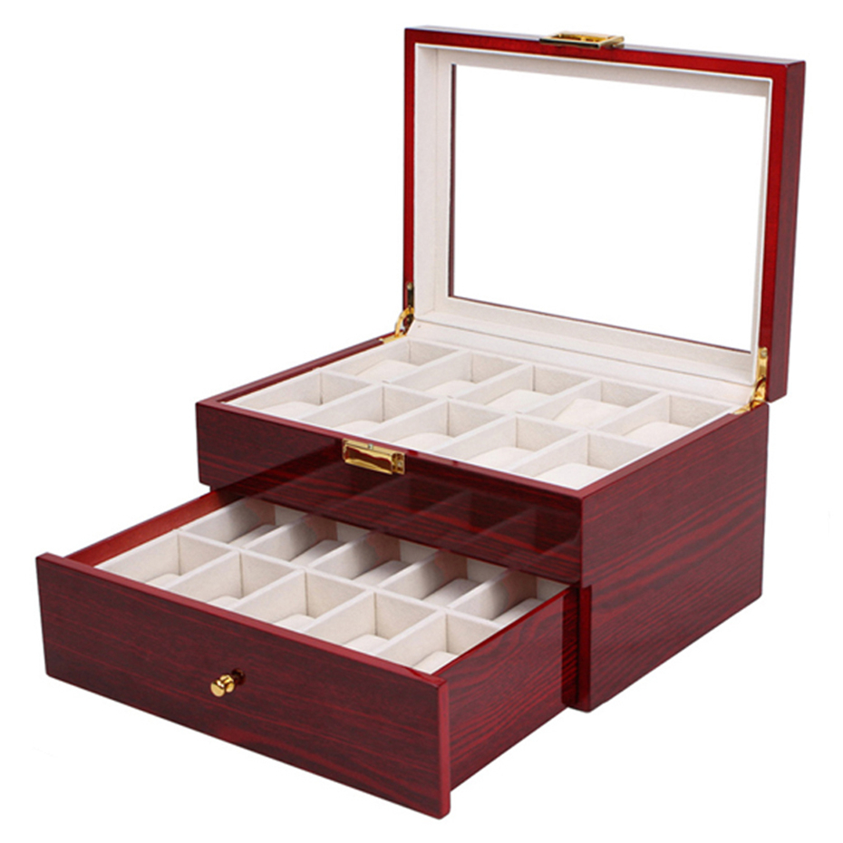 Aivtalk 20 Grids Watch Display Box Lacquer Wood MDF Multifunction Watches Box Holder Case for Expensive Jewelry Watch Storage red wooden paint watch box pefect to storage watch case gift for watch lacquer boxes may custom logo factory supply