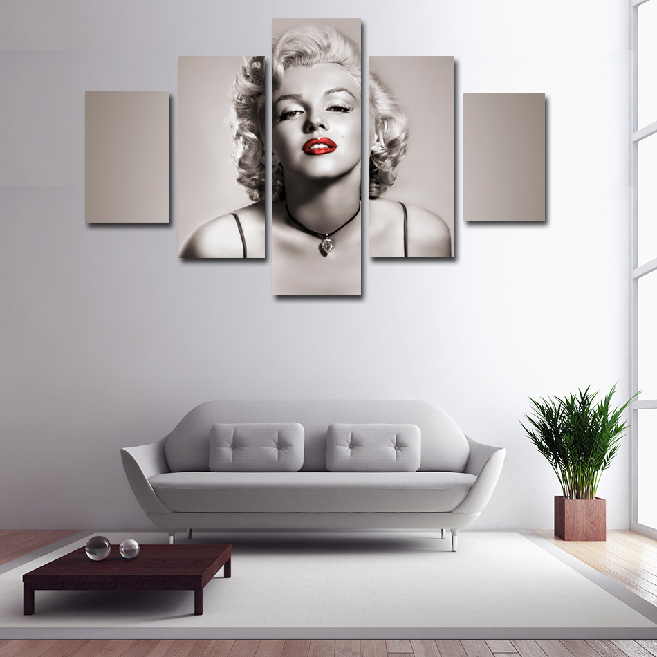 5 panels each set wall decoration printed high quality sexy woman marilyn monroe canvas paintings wall art pictures home decor