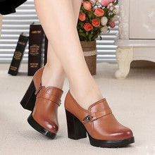 Women shoes, waterproof Genuine leather high-heeled women's singles shoes high quality fashion Wedding shoes, free shipping