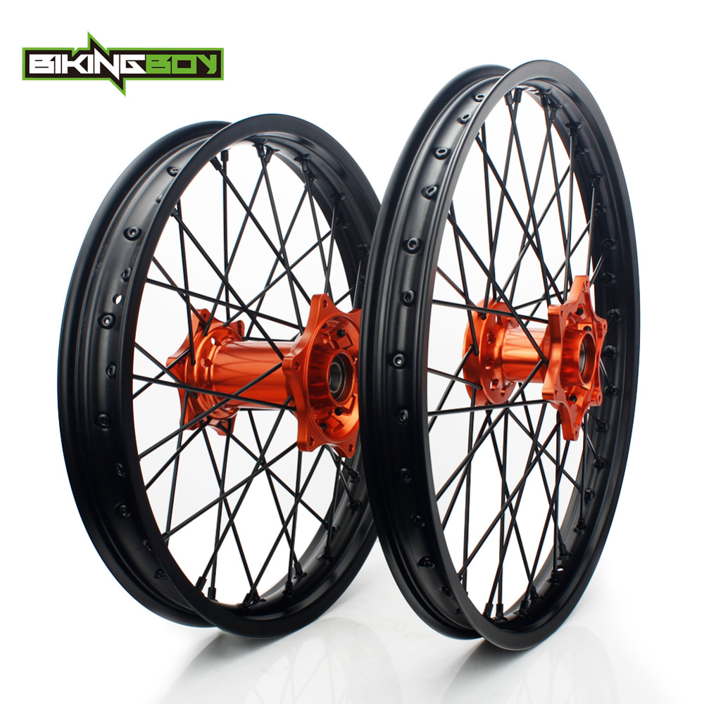 BIKINGBOY Pour KTM EXC MXC SX F XC SXS 125 250 300 350 400 450 505 525 Jante Moyeu Orange Avant 1.6X21 Arrière 2.15X18 Motocross