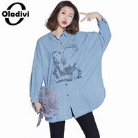 Oladivi Plus Size Women Casual Loose Denim Shirt Ladies Long Sleeves Jeans Blouses Female Large Size Top Tees Tunic Blusas Blue
