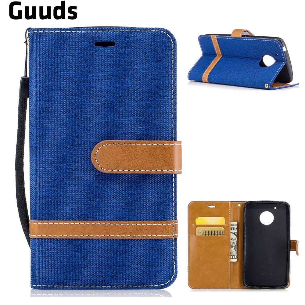 For Motorola Moto G5 Leather Case Jeans Cowboy Denim Leather Wallet Case for Motorola Moto G5 FREE SHIPPING
