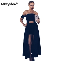 Loneyshow Elegant Backless Long Dress Women Evening Summer Dress Party Sexy Black Strapless Maxi Dresses Vestidos