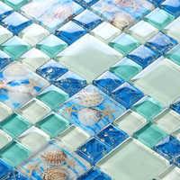 New! blue color crystal glass mixed sea shell mosaic for kitchen backsplash tile bathroom shower hallway wall mosaic