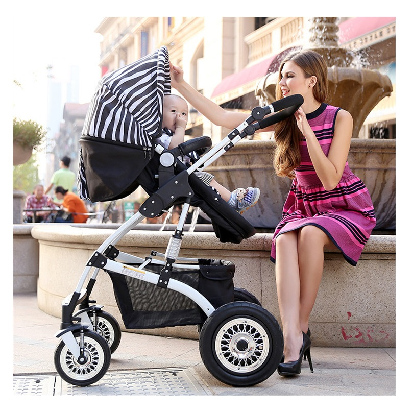Easy folding Aluminium Alloy high view 5 Point Safety Seat baby stroller