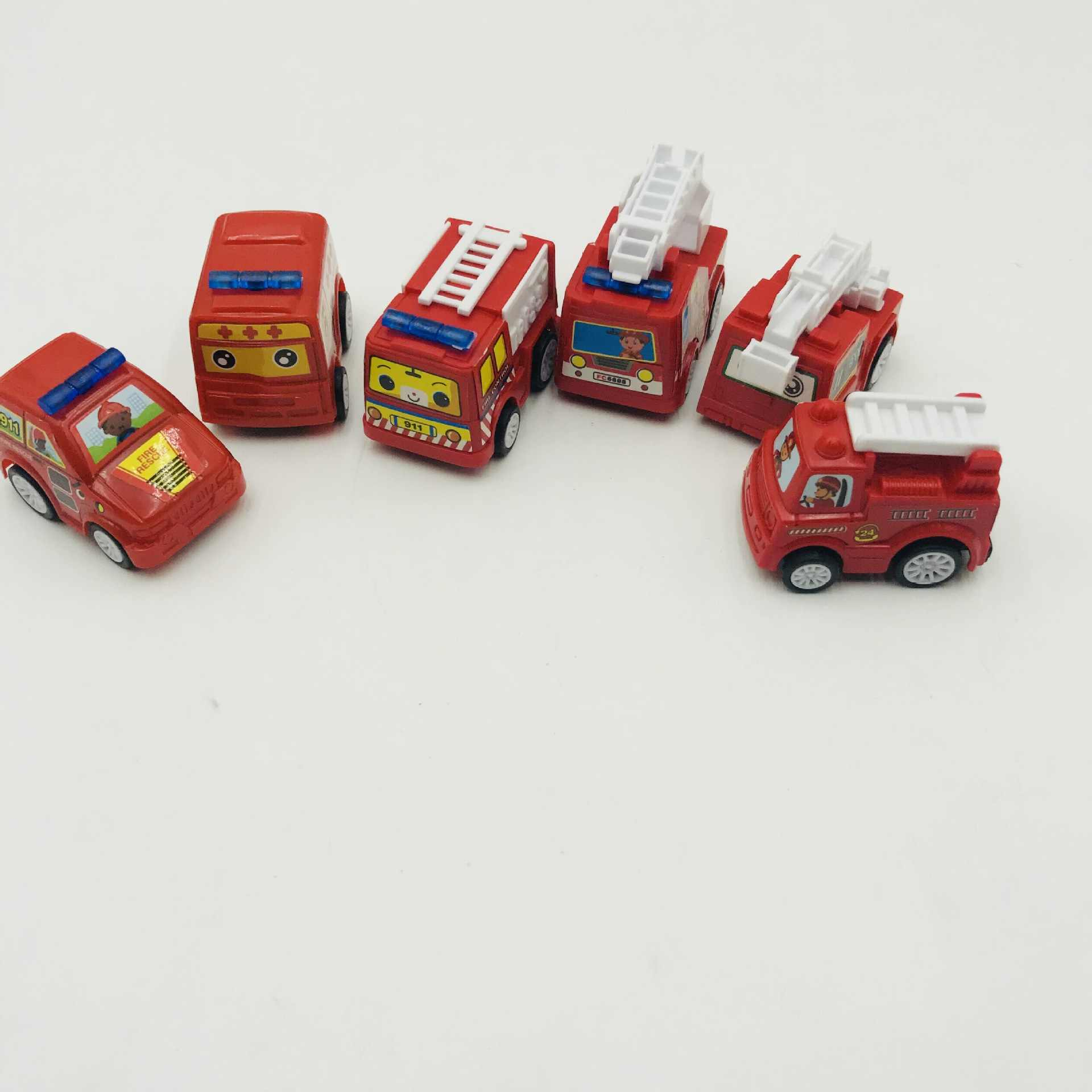 6 Pcs Menarik Kembali Mainan Mobil Mobile Machinery Shop Kendaraan Konstruksi Truk Pemadam Kebakaran Taksi Model Bayi Mobil Mini Hadiah Anak mainan 2019