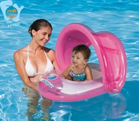 Inflatable Baby Water Toys Fun Pool Float With Canopy Swim Ring Seat Floats Boia Flamingo