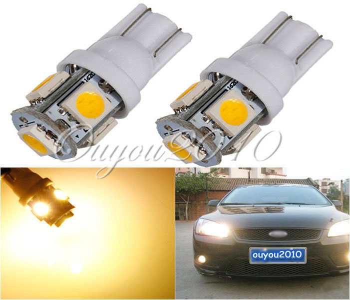 10pcs/lot Warm White 3000K T10 W5W 5 SMD 5050 LED Car Auto License Plate Wedge Side Lights Lamp Bulb 12V Yellow Wholesale honsco e10 1w 3000k 70lm 5050 smd led warm white light screw bulb for diy pair 12v