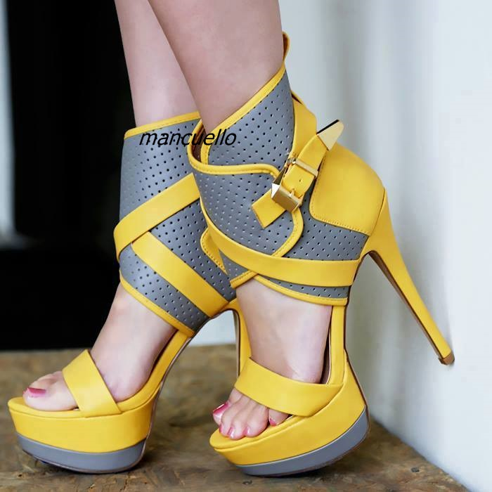 Classy Color Patchwork PU Leather Platform Sandals Sexy Open Toe Ankle Buckle Stiletto Heel Dress Sandals Trendy Fashion Shoes trendy style stiletto heel and double buckle design women s sandals