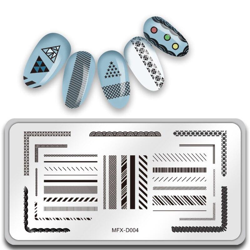Nailart Willensstark Mifanxi 12*6 Cm Rechteck Nagel Stanzen Geometrische Linie Platten Vorlage Maniküre Nail Art Stempel Bild
