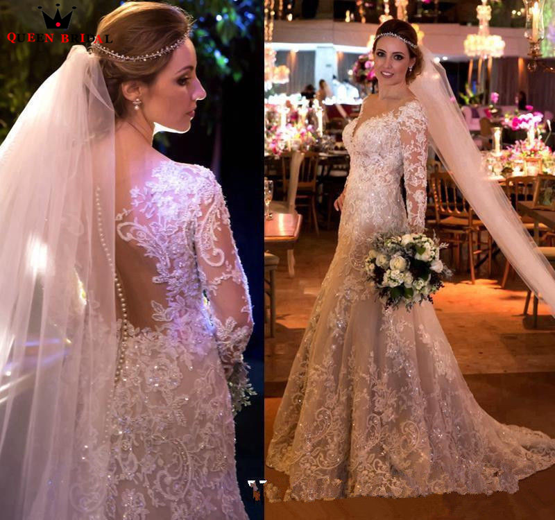 Custom Made Vintage A-line Long Sleeve Lace Beading Pearls Crystal Luxury Wedding Dresses Wedding Gowns 2019 New Fashion GL02