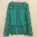 Plus Size 4XL 5XL 2015 nova Primavera Outono mulheres long-sleeved chiffon blusa flor oco Camisa Blusa de Renda Crochê topos