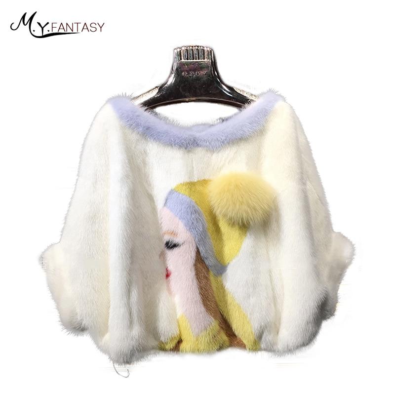 M.Y.FANSTY 2018 Women Half Sleeve Shawl Mink Coat Genuine Fur Women's O Neck Real Fur Shorts Beauty Pattern Hedging Mink Coats