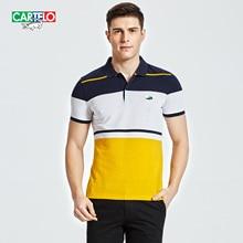 CARTELO brand summer short sleeved shirt male Lapel POLO shirt striped cotton splicing collar Paul shirt half sleeve
