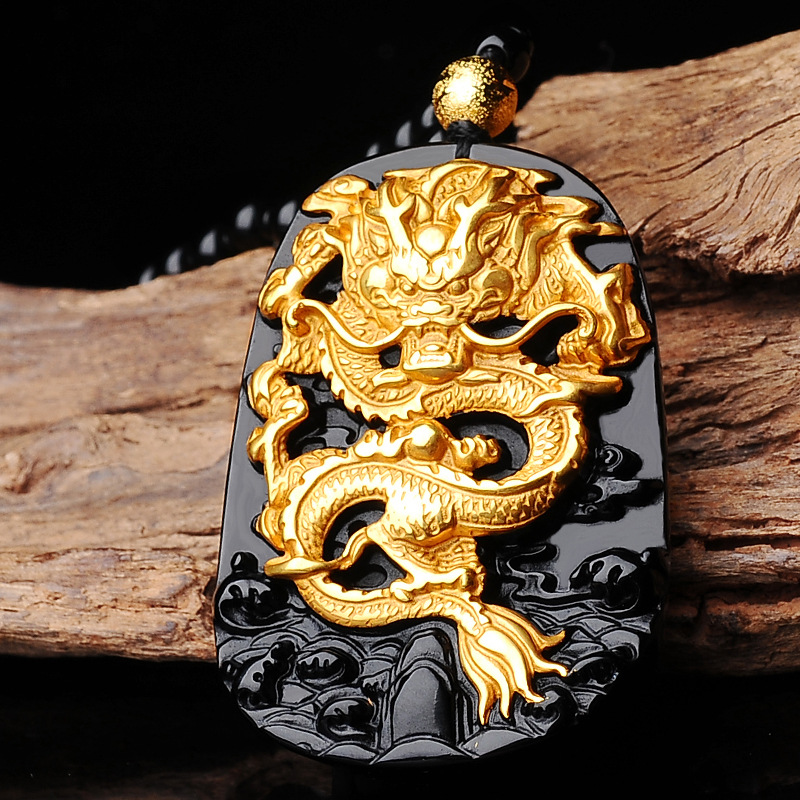 цена Natural Black Obsidian For Women Men pendant Carving Dragon Lucky Amulet Necklace in gift box Pendant