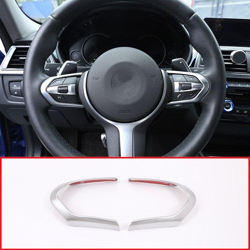 For BMW M3 M4 M5 New 1 3 Series X5M F10 F15 F16 X2 F48 F20 2018 Car ABS Chrome Steering Wheel Decoration Frame Cover Trim 2pcs