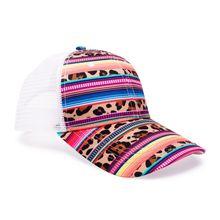 5 Pcs Audlt Leopard Stripe Baseball Mesh Hat With Adjustable Buckle Color Serape Ponytail Cap Sun Hat DOM1116